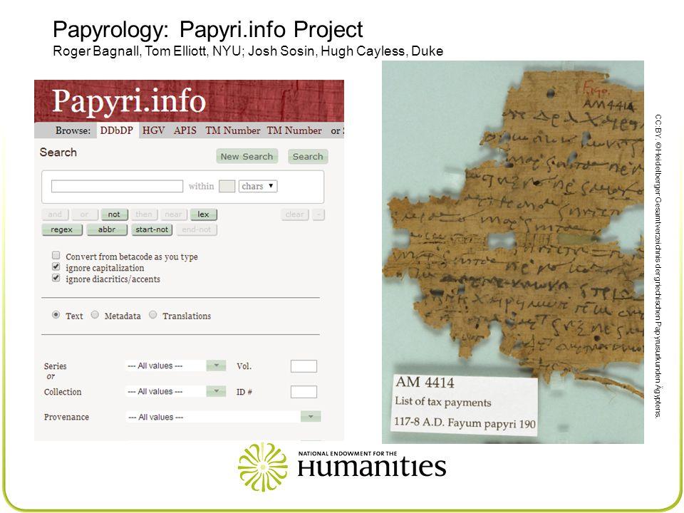 Papyrology: Papyri.info Project Roger Bagnall, Tom Elliott, NYU; Josh Sosin, Hugh Cayless, Duke CC:BY.