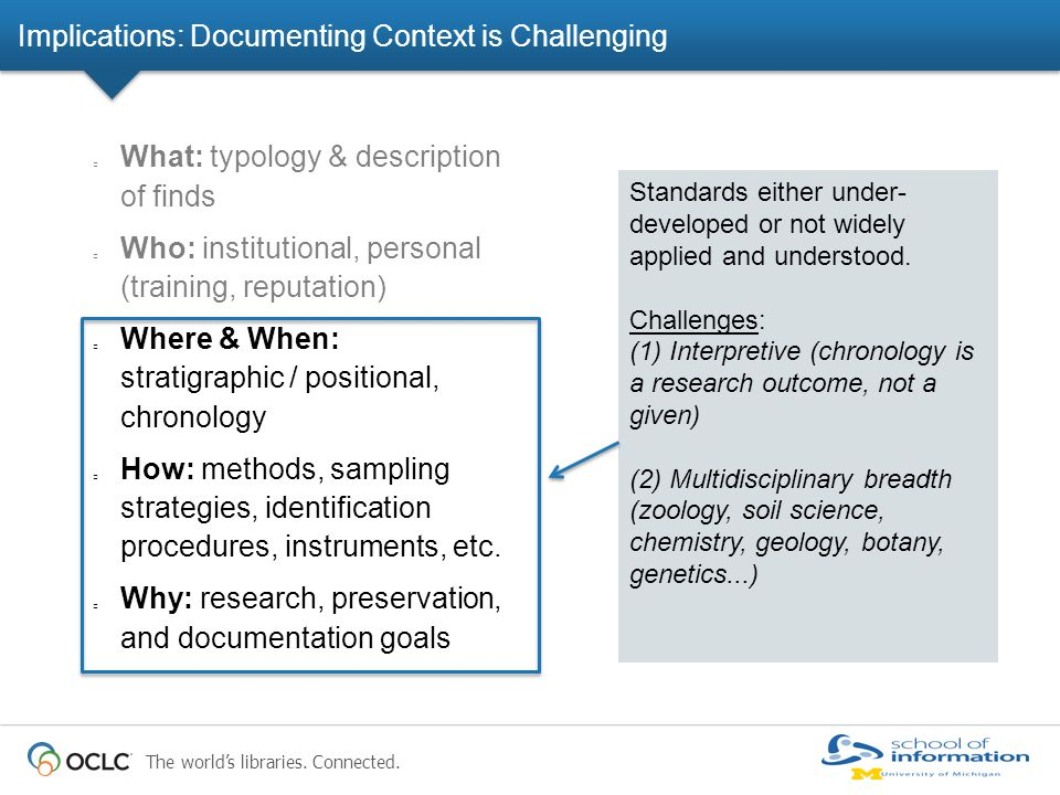 Implications: Documenting Context is Challenging What: typology & description of finds Who: institutional, personal (training, reputation) Where & When: stratigraphic / positional, chronology How: methods, sampling strategies, identification procedures, instruments, etc.