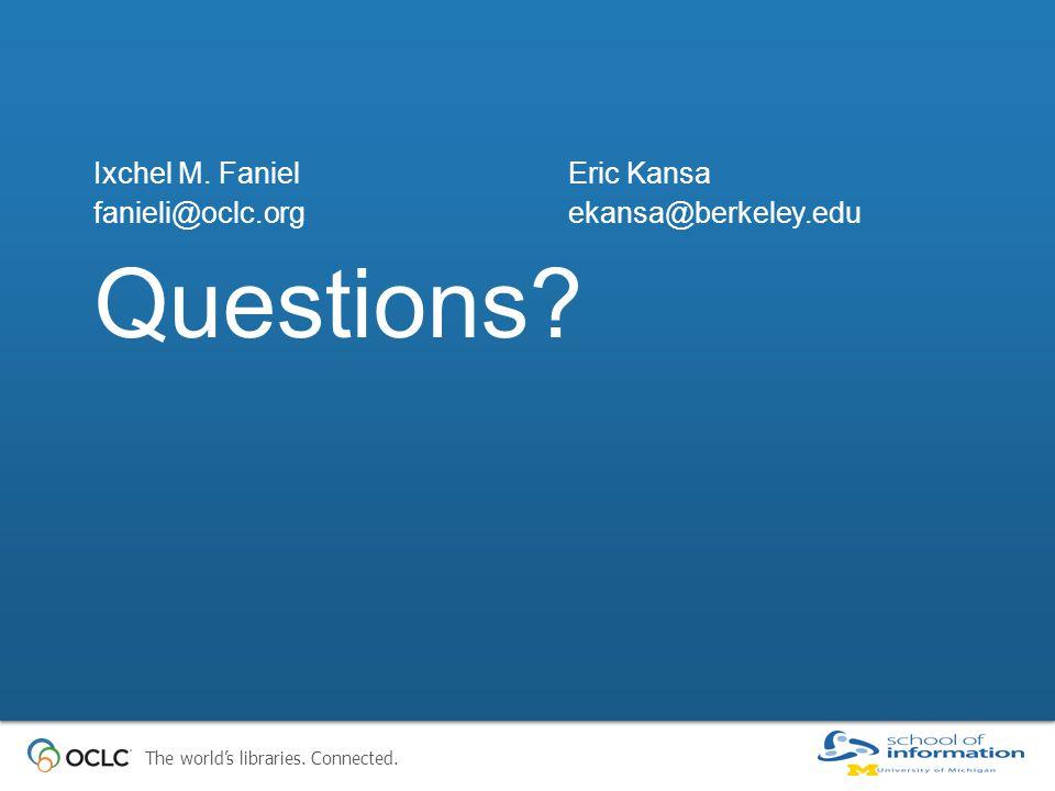The world's libraries. Connected. Questions? Ixchel M. FanielEric Kansa fanieli@oclc.orgekansa@berkeley.edu