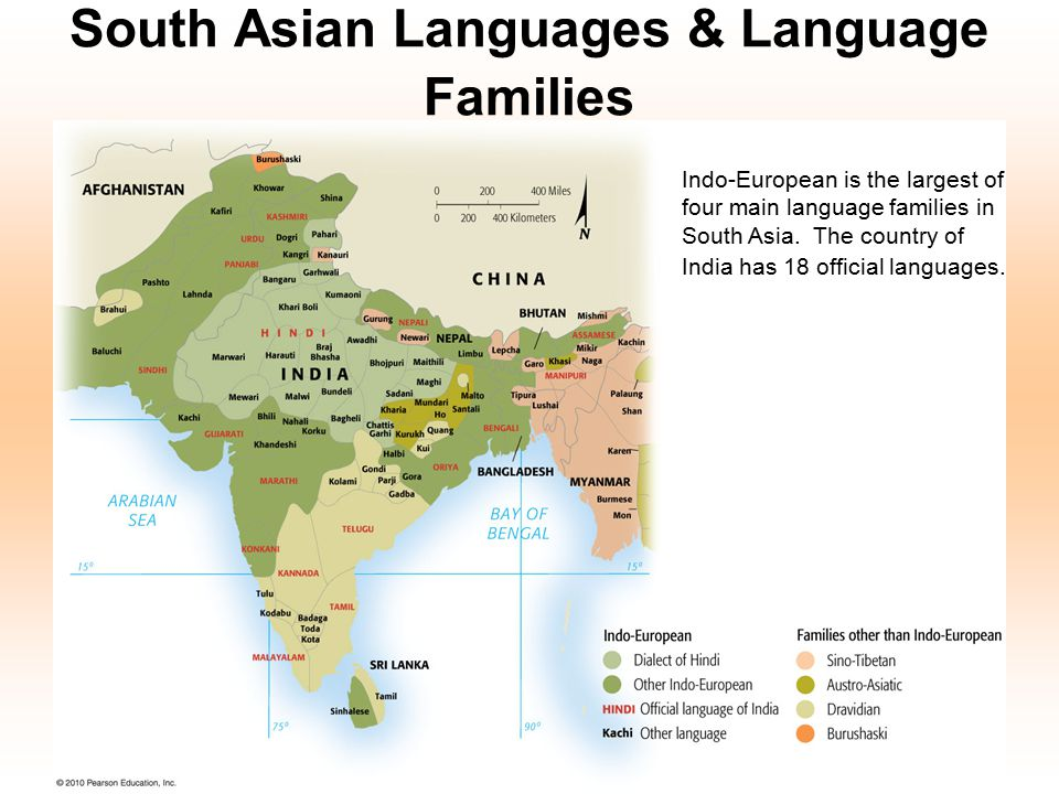 South Asian Languages & Language Families Indo-European is the largest of four main language families in South Asia. The country of India has 18 offic