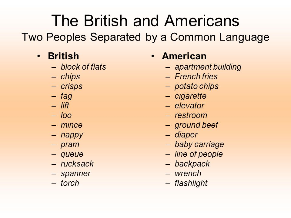 The British and Americans Two Peoples Separated by a Common Language British –block of flats –chips –crisps –fag –lift –loo –mince –nappy –pram –queue