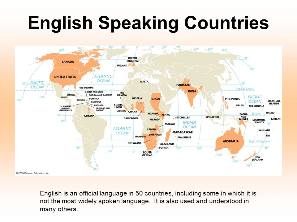English Speaking Countries English is an official language in 50 countries, including some in which it is not the most widely spoken language. It is a