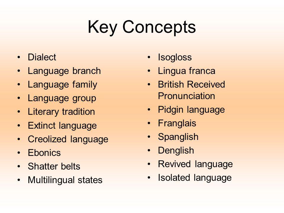 Key Concepts Dialect Language branch Language family Language group Literary tradition Extinct language Creolized language Ebonics Shatter belts Multi