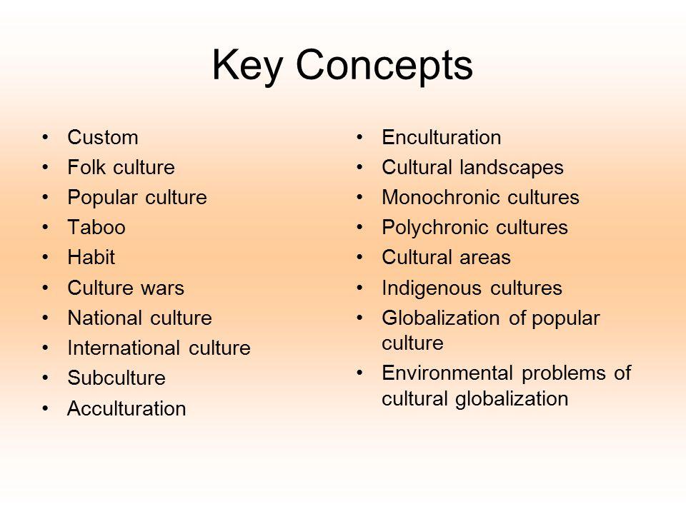 Key Concepts Custom Folk culture Popular culture Taboo Habit Culture wars National culture International culture Subculture Acculturation Enculturatio