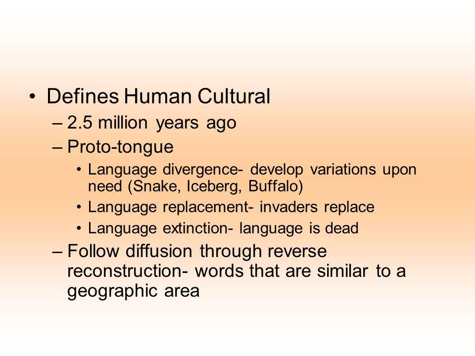 Defines Human Cultural –2.5 million years ago –Proto-tongue Language divergence- develop variations upon need (Snake, Iceberg, Buffalo) Language repla
