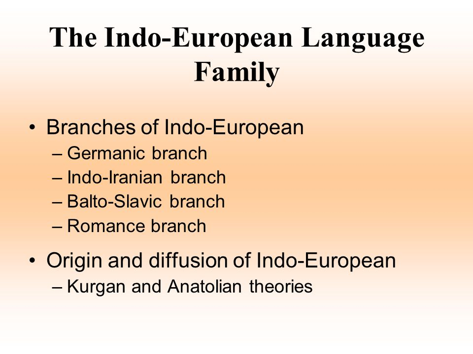 The Indo-European Language Family Branches of Indo-European –Germanic branch –Indo-Iranian branch –Balto-Slavic branch –Romance branch Origin and diff