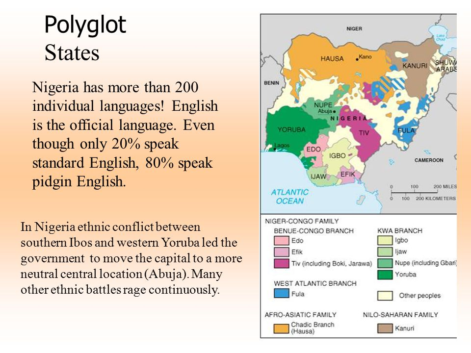 Polyglot States Nigeria has more than 200 individual languages! English is the official language. Even though only 20% speak standard English, 80% spe
