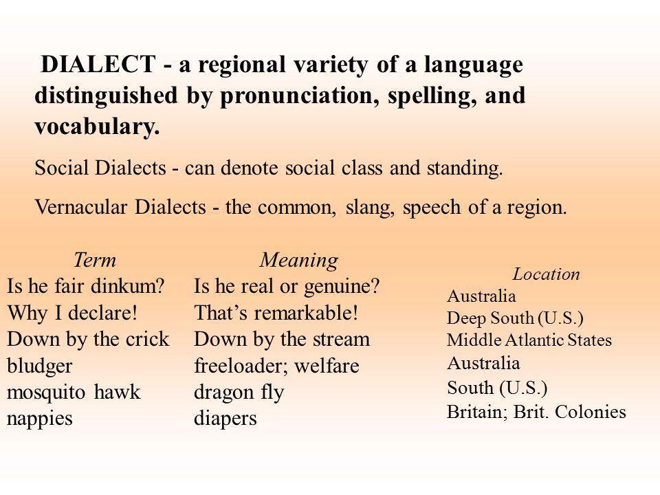 DIALECT - a regional variety of a language distinguished by pronunciation, spelling, and vocabulary. Social Dialects - can denote social class and sta
