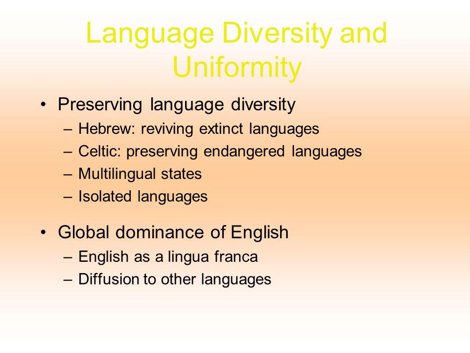 Language Diversity and Uniformity Preserving language diversity –Hebrew: reviving extinct languages –Celtic: preserving endangered languages –Multilin
