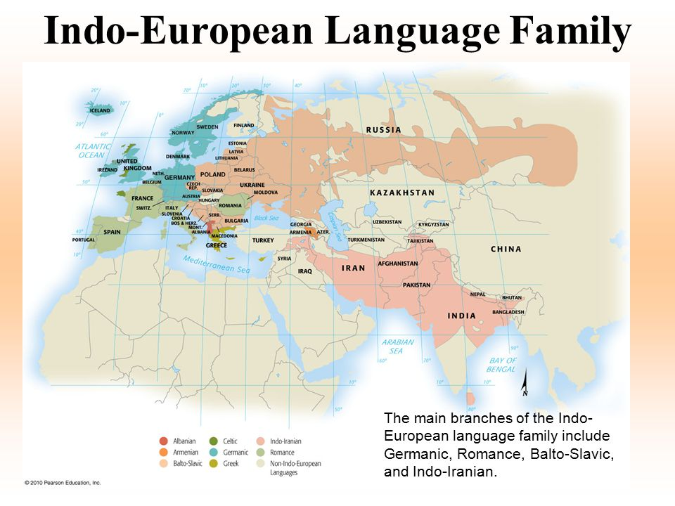Language Families of the World Distribution of the world's main language families.