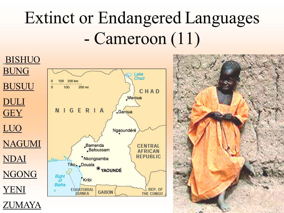 Extinct or Endangered Languages - Cameroon (11) BISHUO BUNG BUSUU DULI GEY LUO NAGUMI NDAI NGONG YENI ZUMAYA