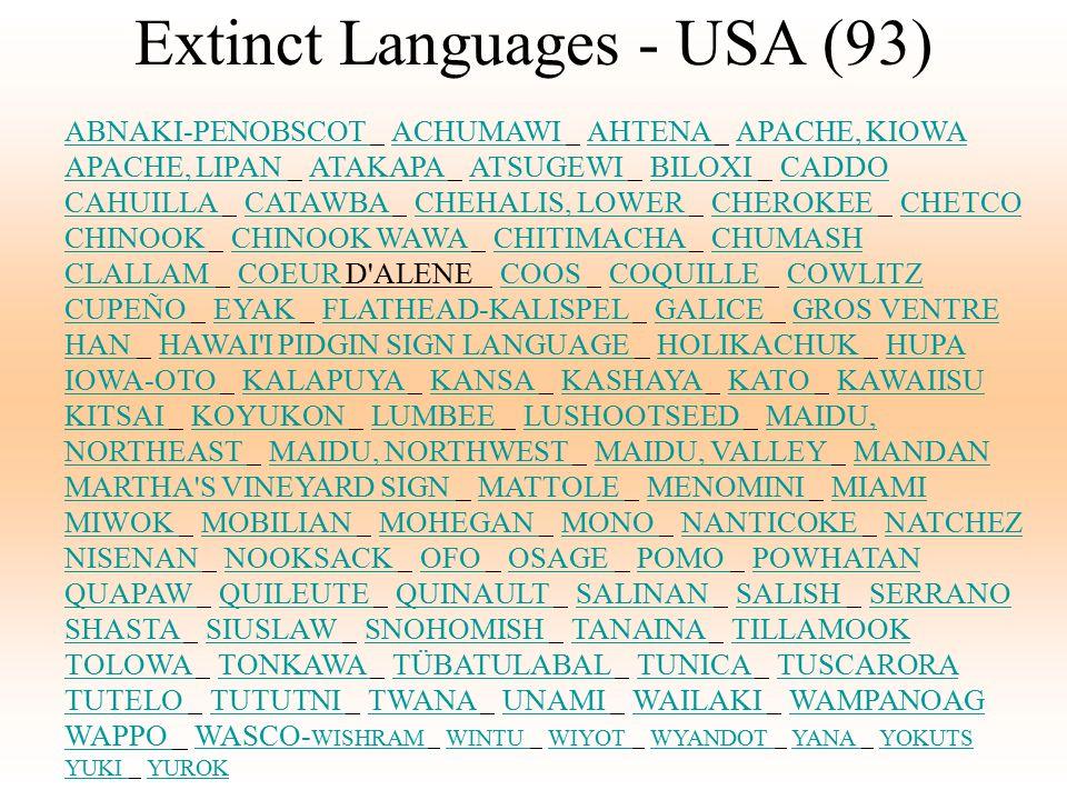 Extinct Languages - USA (93) ABNAKI-PENOBSCOT ABNAKI-PENOBSCOT ACHUMAWI AHTENA APACHE, KIOWA APACHE, LIPAN ATAKAPA ATSUGEWI BILOXI CADDO CAHUILLA CATA