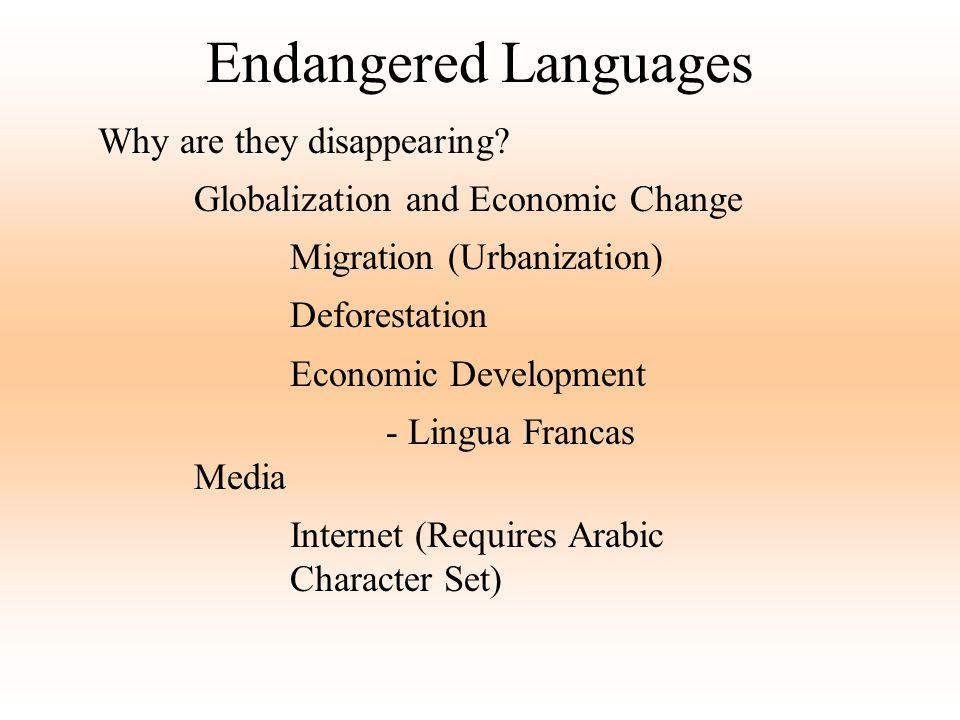 Endangered Languages Why are they disappearing? Globalization and Economic Change Migration (Urbanization) Deforestation Economic Development - Lingua