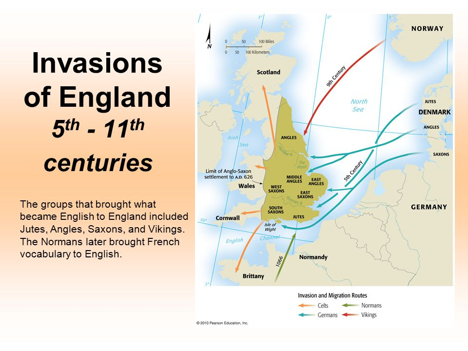 Invasions of England 5 th - 11 th centuries The groups that brought what became English to England included Jutes, Angles, Saxons, and Vikings. The No