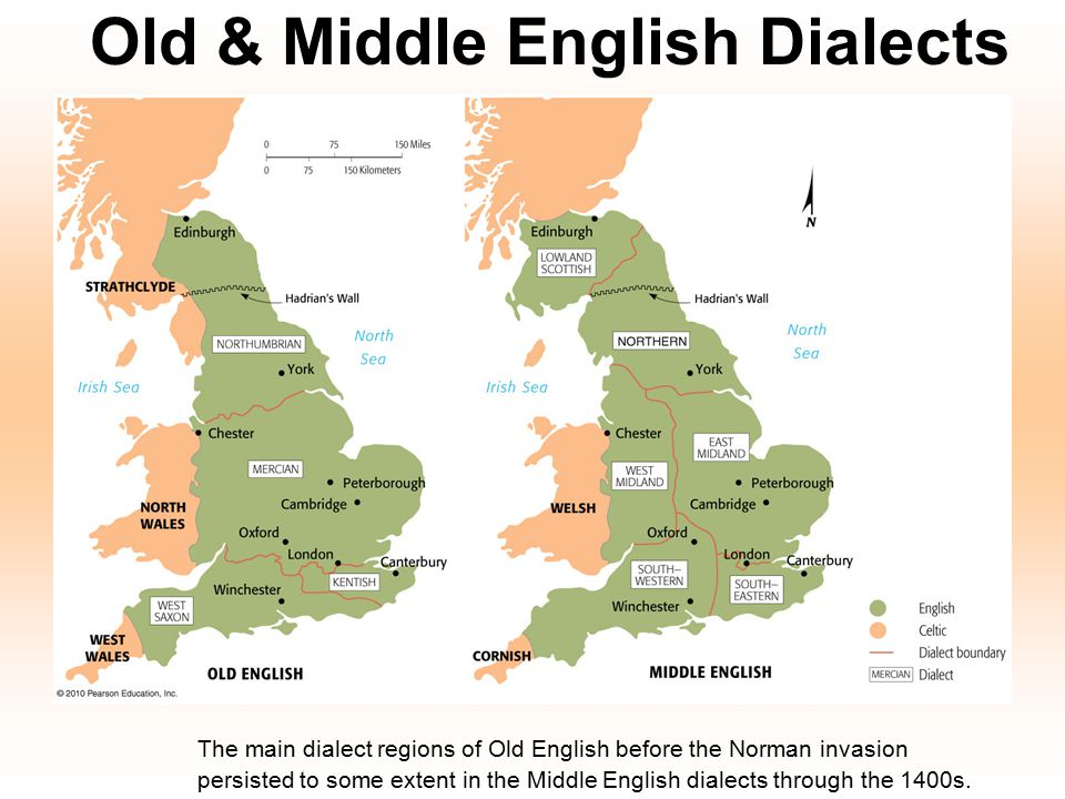 Old & Middle English Dialects The main dialect regions of Old English before the Norman invasion persisted to some extent in the Middle English dialec