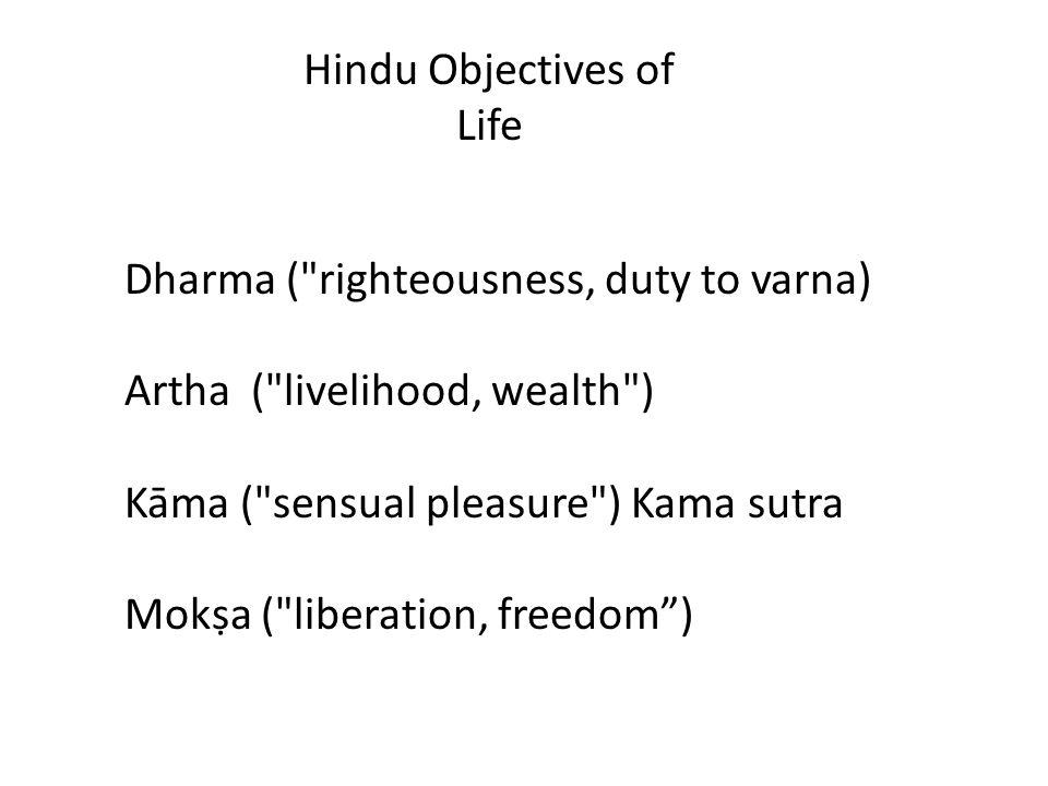 Dharma ( righteousness, duty to varna) Artha ( livelihood, wealth ) Kāma ( sensual pleasure ) Kama sutra Mokṣa ( liberation, freedom ) Hindu Objectives of Life
