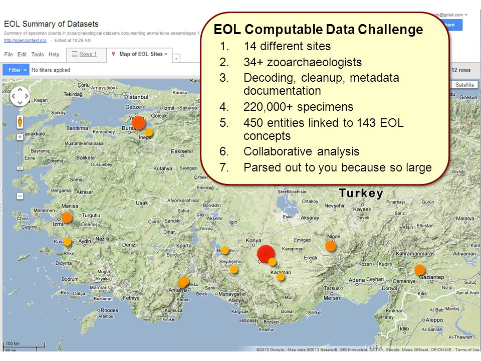 EOL Computable Data Challenge 1.14 different sites 2.34+ zooarchaeologists 3.Decoding, cleanup, metadata documentation 4.220,000+ specimens 5.450 entities linked to 143 EOL concepts 6.Collaborative analysis 7.Parsed out to you because so large EOL Computable Data Challenge 1.14 different sites 2.34+ zooarchaeologists 3.Decoding, cleanup, metadata documentation 4.220,000+ specimens 5.450 entities linked to 143 EOL concepts 6.Collaborative analysis 7.Parsed out to you because so large
