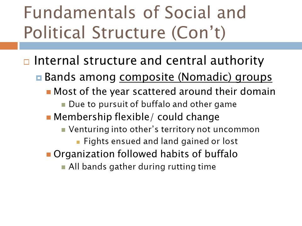 Fundamentals of Social and Political Structure (Con't)  Internal structure and central authority  Bands among composite (Nomadic) groups Most of the year scattered around their domain Due to pursuit of buffalo and other game Membership flexible/ could change Venturing into other's territory not uncommon Fights ensued and land gained or lost Organization followed habits of buffalo All bands gather during rutting time