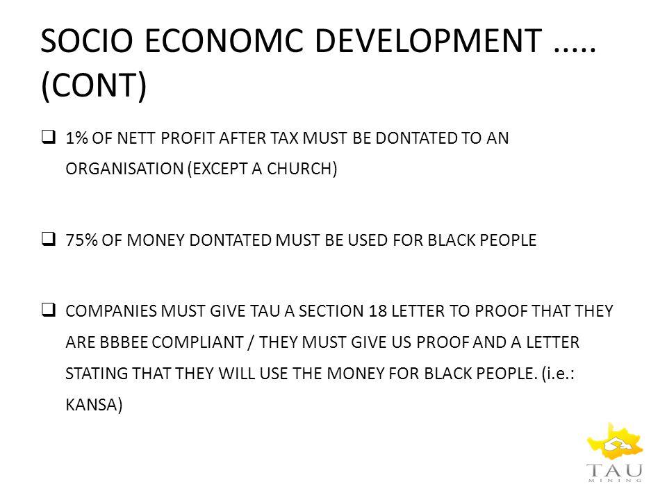 SOCIO ECONOMC DEVELOPMENT.....