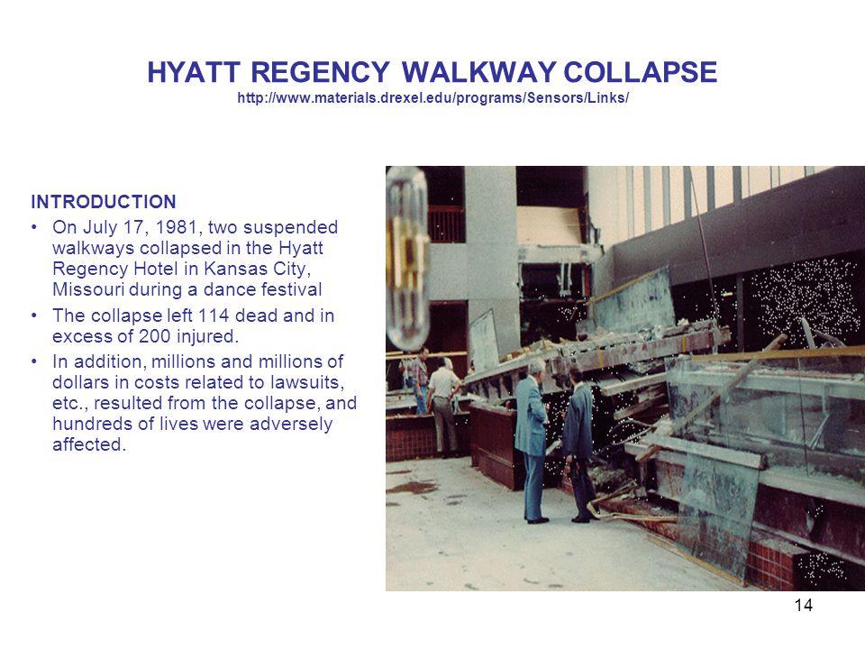 14 HYATT REGENCY WALKWAY COLLAPSE http://www.materials.drexel.edu/programs/Sensors/Links/ INTRODUCTION On July 17, 1981, two suspended walkways collap
