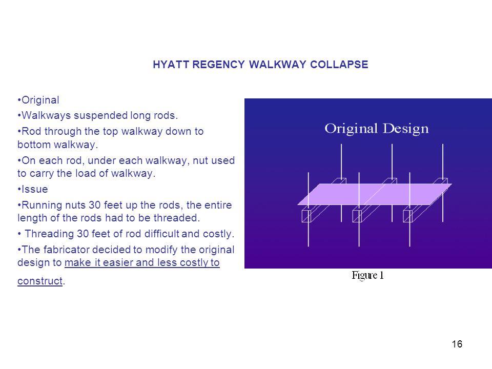16 HYATT REGENCY WALKWAY COLLAPSE Original Walkways suspended long rods. Rod through the top walkway down to bottom walkway. On each rod, under each w