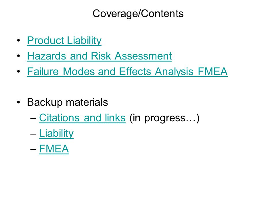 73 FMEA Process For each component 1.Identify a failure mode 2.Determine the possible effects or consequences of the failure 3.Assess the potential severity of the effect 4.Identify the cause of failure (take action!) 5.Estimate the probability of occurrence 6.Assess the likelihood of detecting the failure