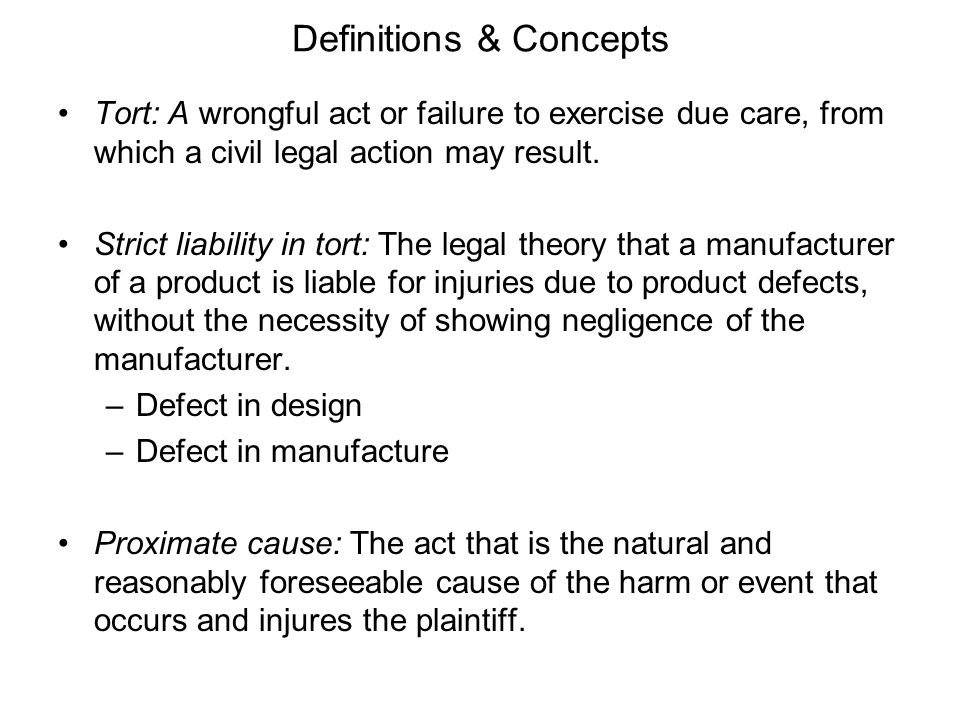 Definitions & Concepts Liability: An obligation to rectify or recompense for any injury or damage for which the liable person has been held responsible or for failure of a product to meet a warranty.