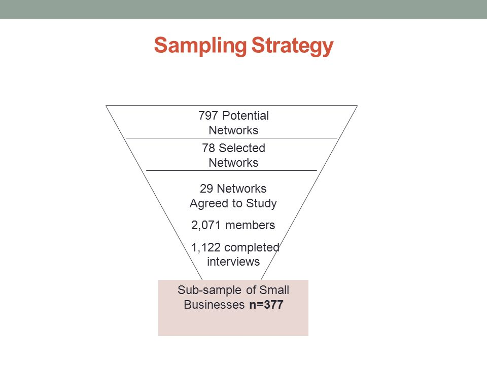 Sampling Strategy 797 Potential Networks 78 Selected Networks 29 Networks Agreed to Study 2,071 members 1,122 completed interviews Sub-sample of Small Businesses n=377
