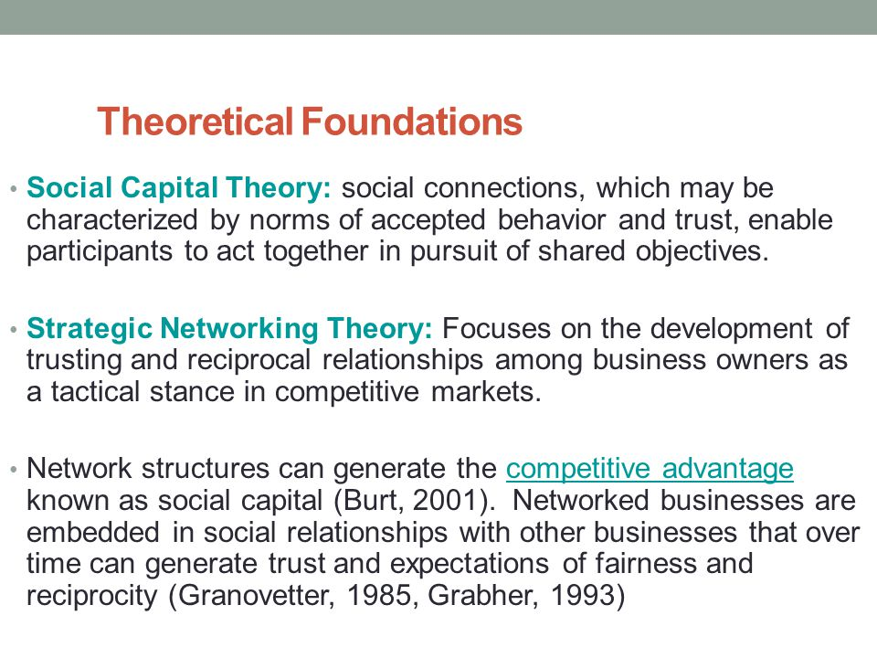 Theoretical Foundations Social Capital Theory: social connections, which may be characterized by norms of accepted behavior and trust, enable participants to act together in pursuit of shared objectives.