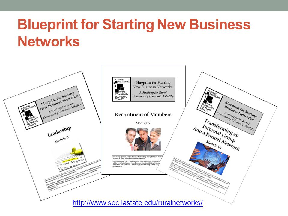 Blueprint for Starting New Business Networks http://www.soc.iastate.edu/ruralnetworks/