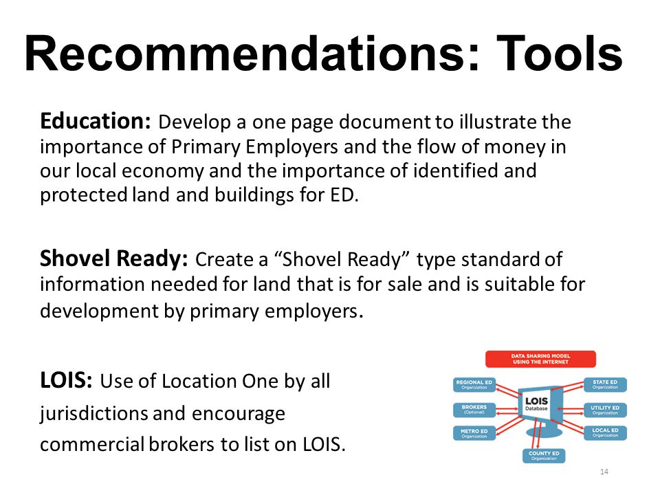 Recommendations: Tools Education: Develop a one page document to illustrate the importance of Primary Employers and the flow of money in our local economy and the importance of identified and protected land and buildings for ED.
