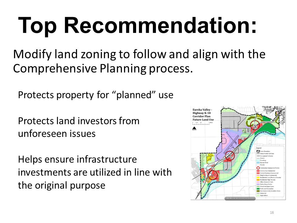 Top Recommendation: Modify land zoning to follow and align with the Comprehensive Planning process.