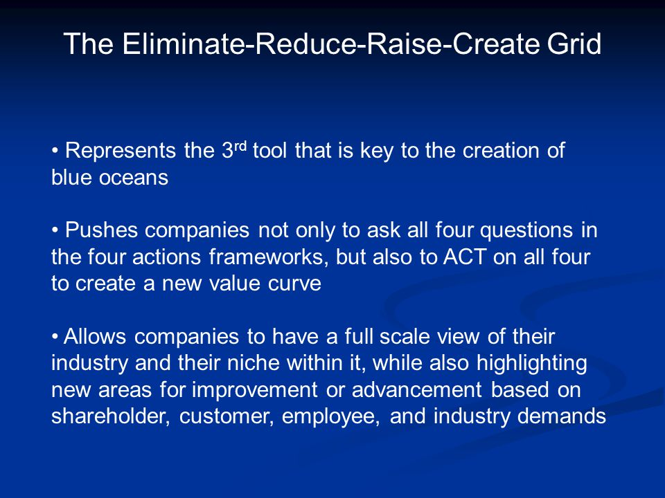 The Eliminate-Reduce-Raise-Create Grid Represents the 3 rd tool that is key to the creation of blue oceans Pushes companies not only to ask all four q