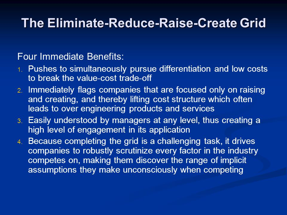The Eliminate-Reduce-Raise-Create Grid Four Immediate Benefits: 1. 1. Pushes to simultaneously pursue differentiation and low costs to break the value