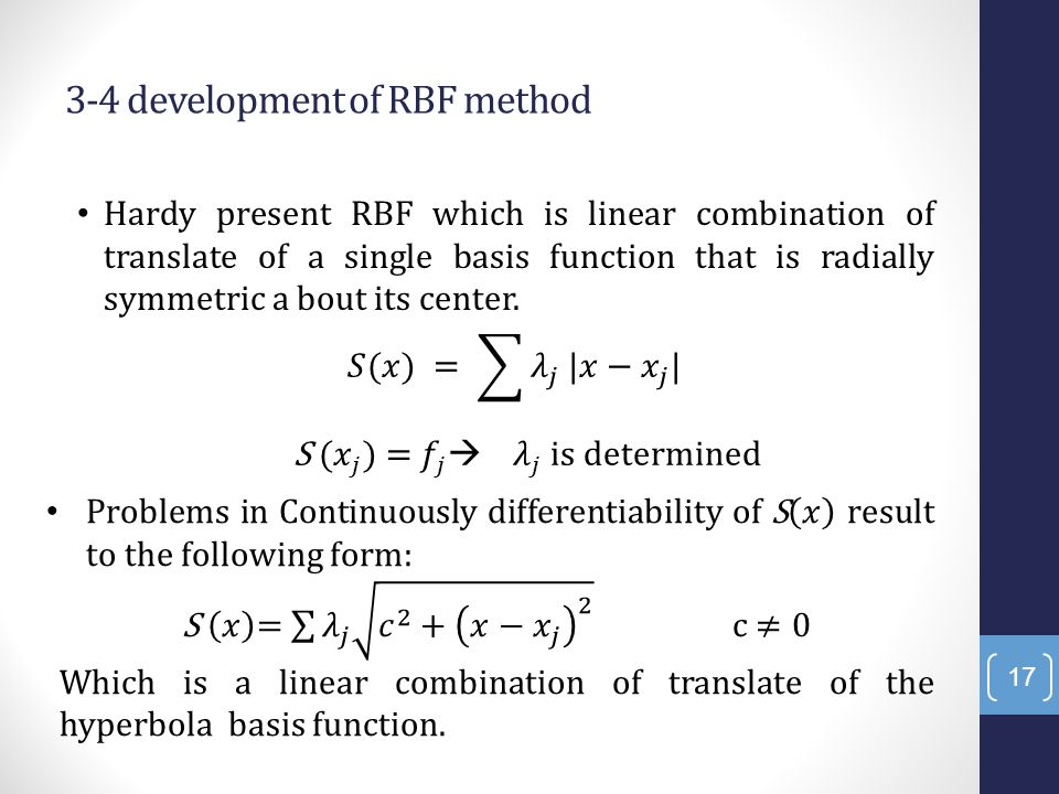 3-4 development of RBF method Hardy present RBF which is linear combination of translate of a single basis function that is radially symmetric a bout its center.