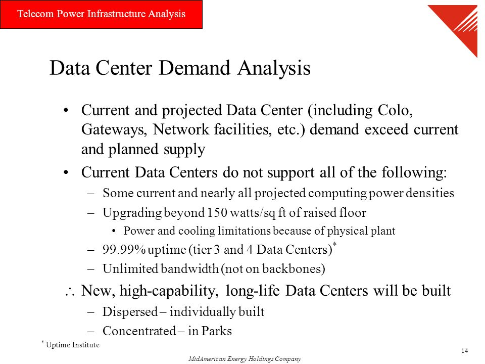 MidAmerican Energy Holdings Company Telecom Power Infrastructure Analysis 14 Data Center Demand Analysis Current and projected Data Center (including Colo, Gateways, Network facilities, etc.) demand exceed current and planned supply Current Data Centers do not support all of the following: –Some current and nearly all projected computing power densities –Upgrading beyond 150 watts/sq ft of raised floor Power and cooling limitations because of physical plant –99.99% uptime (tier 3 and 4 Data Centers) * –Unlimited bandwidth (not on backbones)  New, high-capability, long-life Data Centers will be built –Dispersed – individually built –Concentrated – in Parks * Uptime Institute