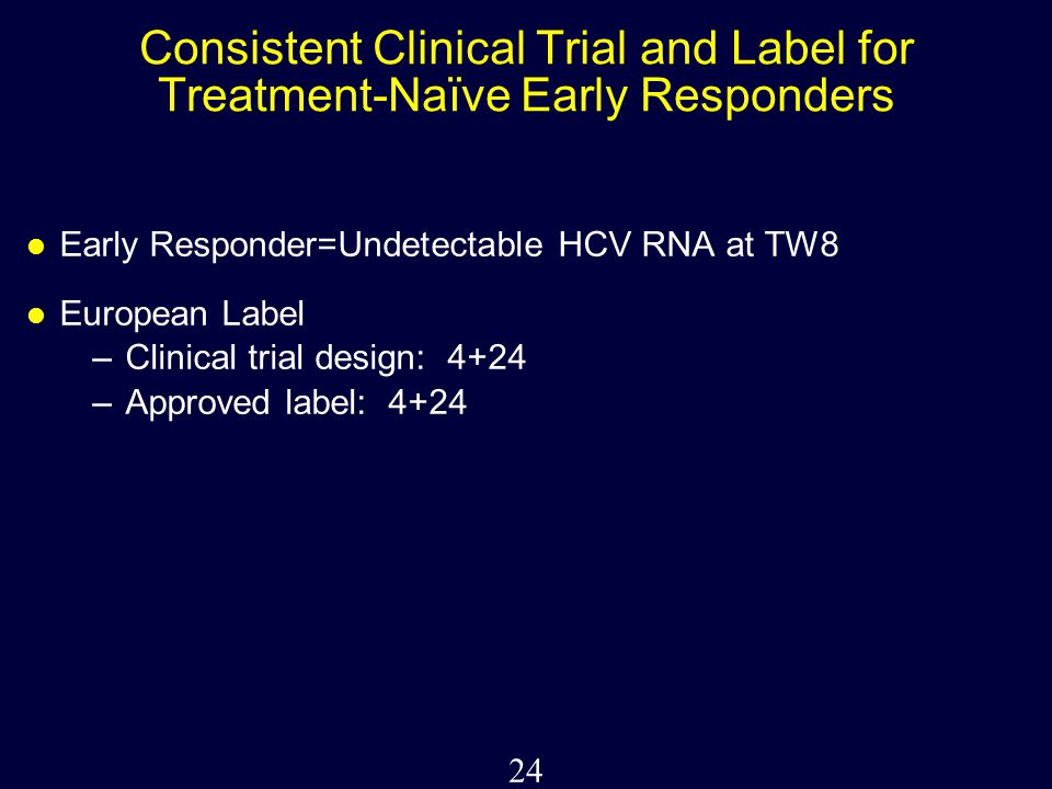 24 Consistent Clinical Trial and Label for Treatment-Naïve Early Responders Early Responder=Undetectable HCV RNA at TW8 European Label –Clinical trial design: 4+24 –Approved label: 4+24