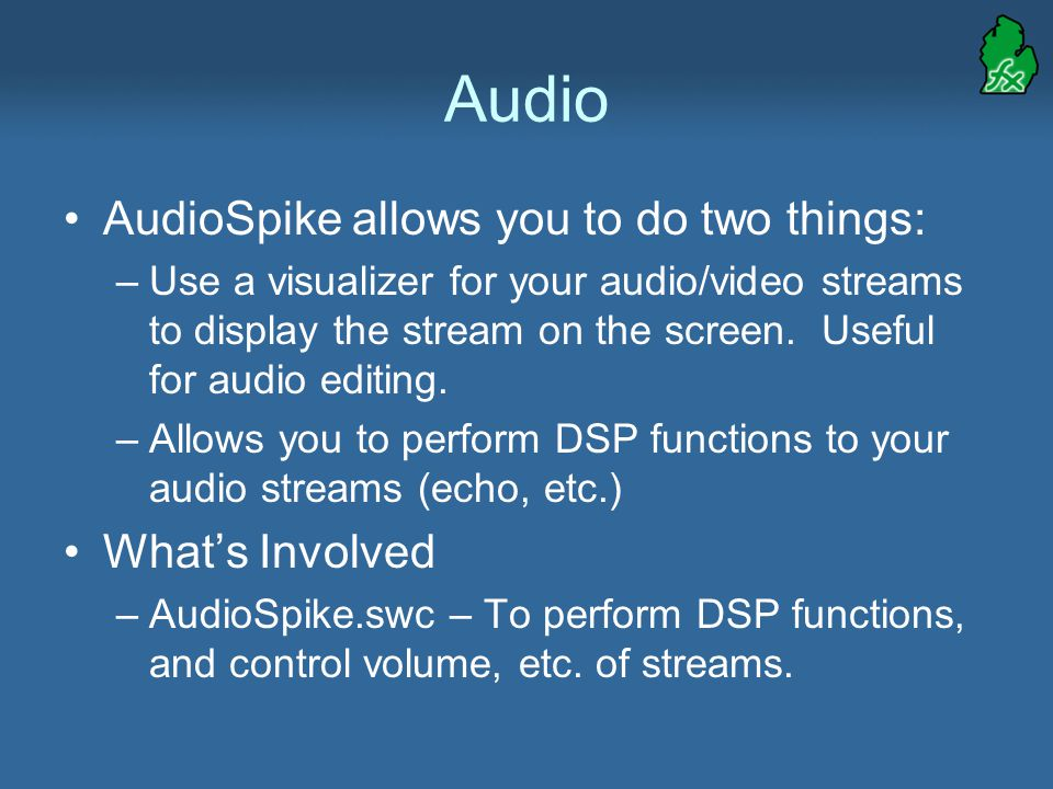 Audio AudioSpike allows you to do two things: –Use a visualizer for your audio/video streams to display the stream on the screen.