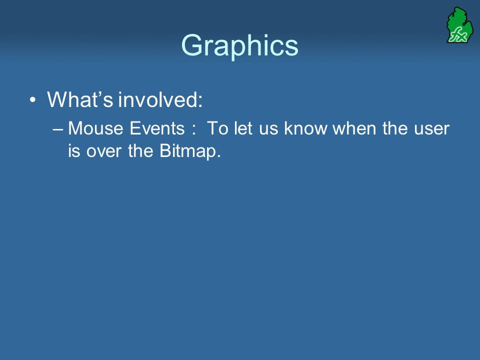 Graphics What's involved: –Mouse Events : To let us know when the user is over the Bitmap.