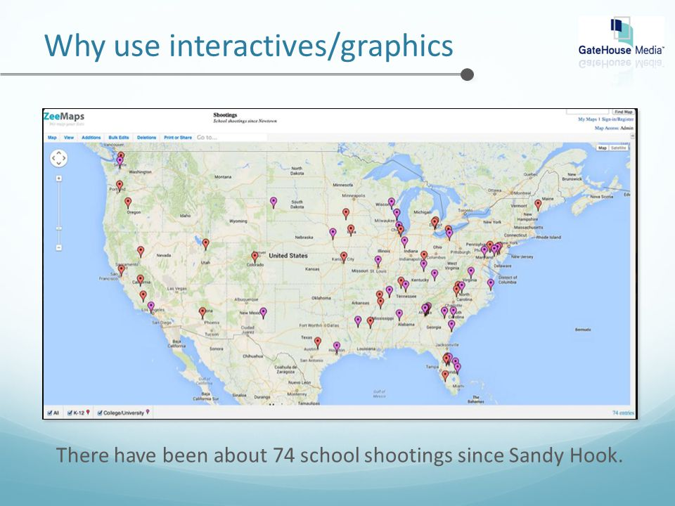 Why use interactives/graphics There have been about 74 school shootings since Sandy Hook.