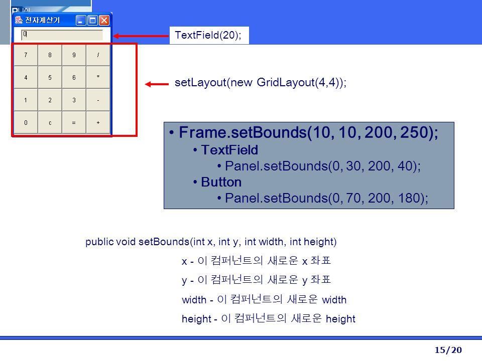 15/20 setLayout(new GridLayout(4,4)); TextField(20); Frame.setBounds(10, 10, 200, 250); TextField Panel.setBounds(0, 30, 200, 40); Button Panel.setBounds(0, 70, 200, 180); public void setBounds(int x, int y, int width, int height) x - 이 컴퍼넌트의 새로운 x 좌표 y - 이 컴퍼넌트의 새로운 y 좌표 width - 이 컴퍼넌트의 새로운 width height - 이 컴퍼넌트의 새로운 height