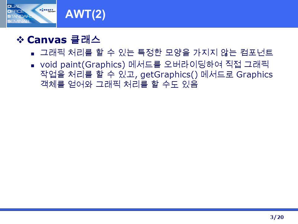 3/20 AWT(2)  Canvas 클래스 그래픽 처리를 할 수 있는 특정한 모양을 가지지 않는 컴포넌트 void paint(Graphics) 메서드를 오버라이딩하여 직접 그래픽 작업을 처리를 할 수 있고, getGraphics() 메서드로 Graphics 객체를 얻어와 그래픽 처리를 할 수도 있음