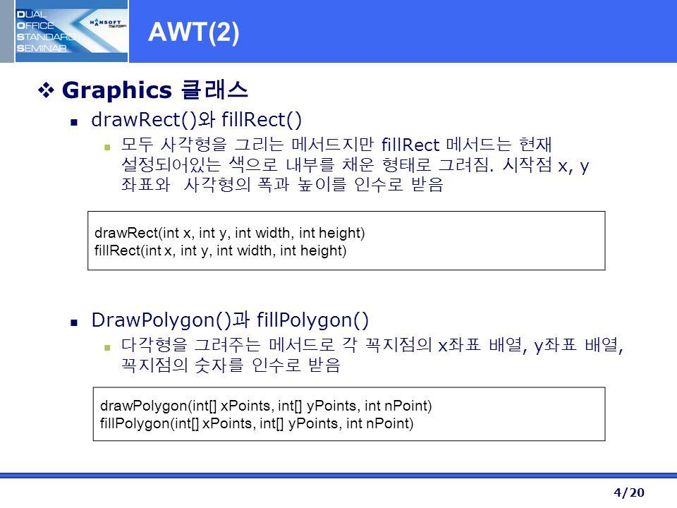 4/20 AWT(2)  Graphics 클래스 drawRect() 와 fillRect() 모두 사각형을 그리는 메서드지만 fillRect 메서드는 현재 설정되어있는 색으로 내부를 채운 형태로 그려짐.