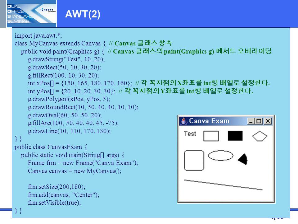 9/20 AWT(2) import java.awt.*; class MyCanvas extends Canvas { // Canvas 클래스 상속 public void paint(Graphics g) { // Canvas 클래스의 paint(Graphics g) 메서드 오버라이딩 g.drawString( Test , 10, 20); g.drawRect(50, 10, 30, 20); g.fillRect(100, 10, 30, 20); int xPos[] = {150, 165, 180, 170, 160}; // 각 꼭지점의 X 좌표를 int 형 배열로 설정한다.