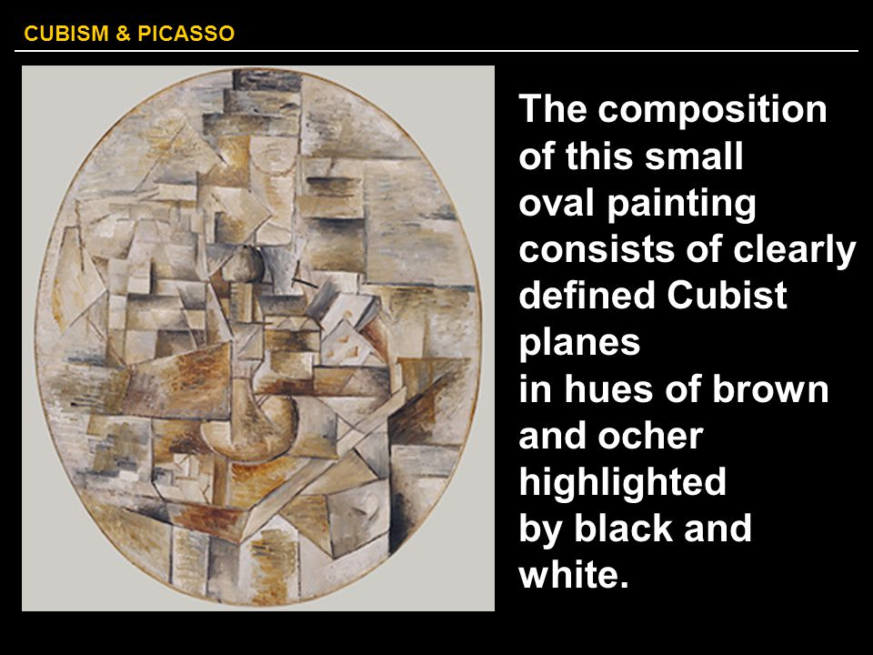 CUBISM & PICASSO The composition of this small oval painting consists of clearly defined Cubist planes in hues of brown and ocher highlighted by black