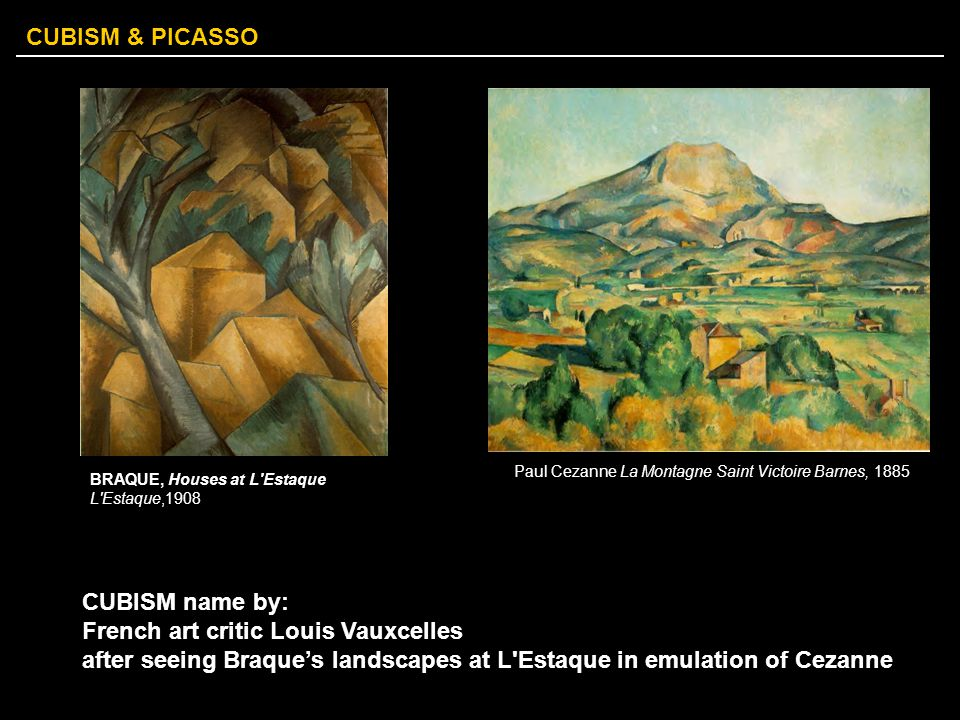 CUBISM & PICASSO CUBISM name by: French art critic Louis Vauxcelles after seeing Braque's landscapes at L'Estaque in emulation of Cezanne BRAQUE, Hous