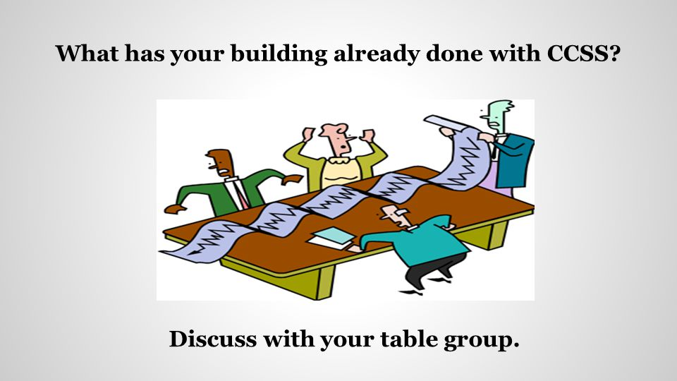 What has your building already done with CCSS? Discuss with your table group.