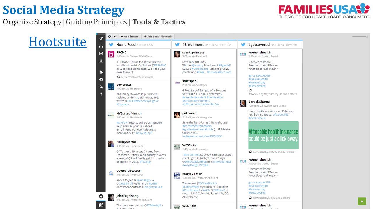 Hootsuite Social Media Strategy Organize Strategy| Guiding Principles | Tools & Tactics