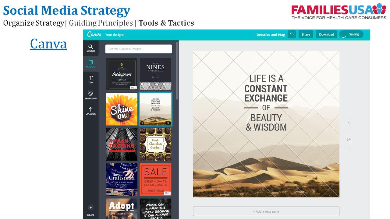 Canva Social Media Strategy Organize Strategy| Guiding Principles | Tools & Tactics