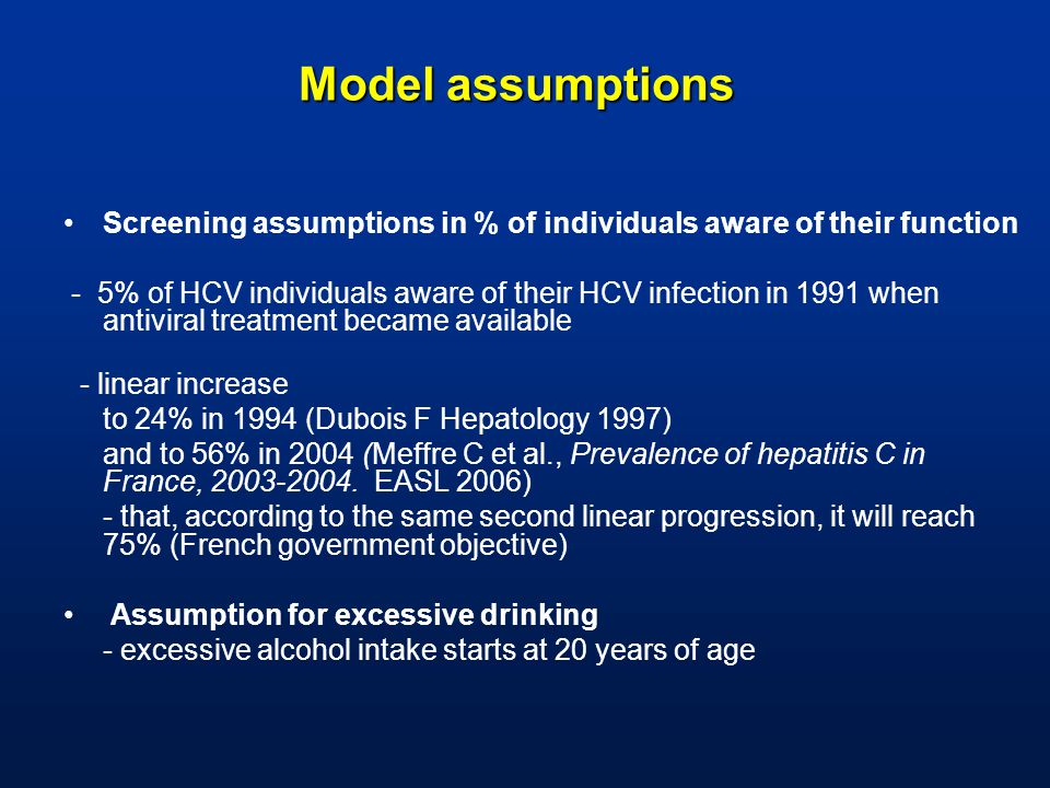 Model assumptions Screening assumptions in % of individuals aware of their function - 5% of HCV individuals aware of their HCV infection in 1991 when antiviral treatment became available - linear increase to 24% in 1994 (Dubois F Hepatology 1997) and to 56% in 2004 (Meffre C et al., Prevalence of hepatitis C in France, 2003-2004.